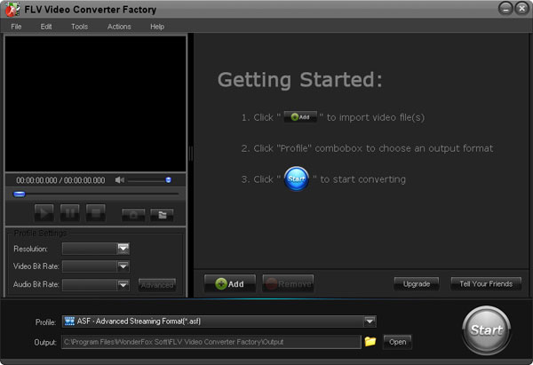 Click to view Free FLV Video Converter Factory 2.0 screenshot