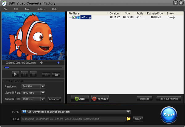 Windows 7 Free SWF Video Converter Factory 2.0 full