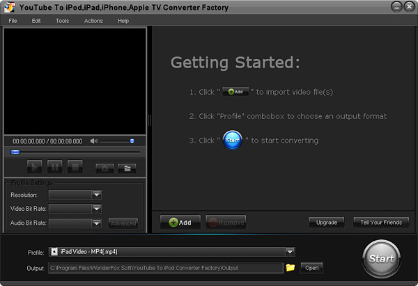 Click to view Free YouTube to iPod iPhone Converter Factory 2.0 screenshot