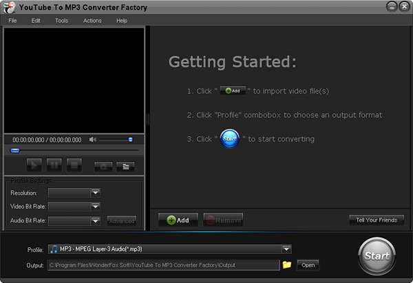 Click to view Free YouTube to MP3 Converter Factory 2.0 screenshot