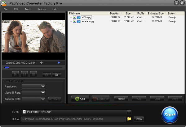Click to View Full ScreenshotiPad Video Converter Factory Pro 3 screenshot