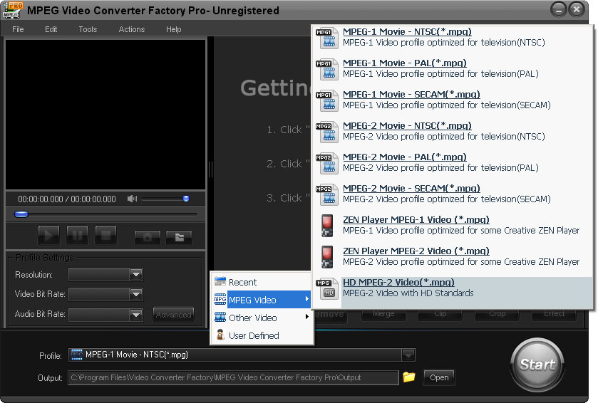 MPEG Video Converter Factory Pro Screen shot