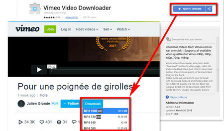 Simple Vimeo Downloader Google Chrome