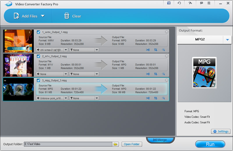 Video Converter Factory Pro is capable of converting almost all video formats
